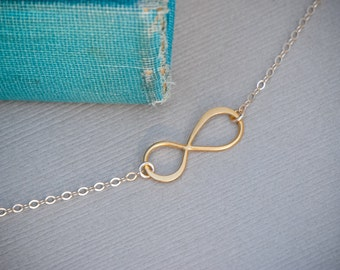 Infinity Necklace, Vermeil and 14K Gold Fill Infinity Pendant, Everyday jewelry, Layering Necklace, Bridesmaid Jewelry, Dainty tiny Necklac