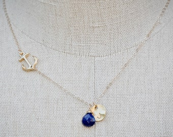 Personalized Sideways Anchor Necklace, GOLD Anchor Jewelry, Personalized Initial Disc Gemstone Navy Necklace, Nautical Jewelry