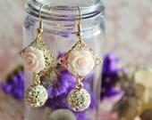 Dainty Beauty Earrings in Soft Pink Rose - Bridesmaids Earrings