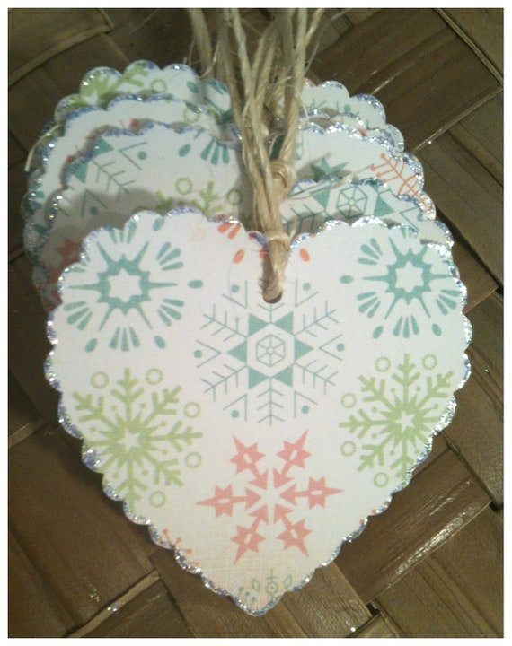 FIVE Christmas Hearts Snowflakes Pastel Winter Wonderland Handmade Holiday Gift Tags