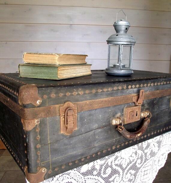 Black Suitcase Antique 1930s Hardcase Steamer Trunk Home