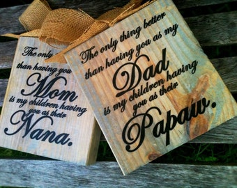 The Original Nana and Papaw Wood Block Signs Choose Your Endearing Names Papa Mimi Pop Nana Pops Gigi
