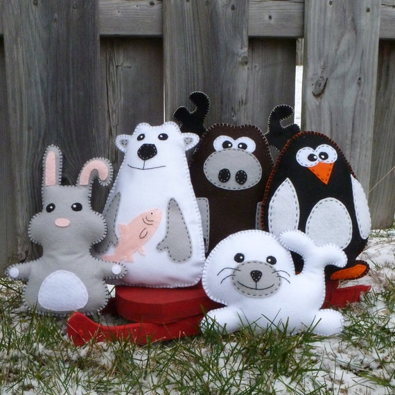 5 Arctic Stuffed Animal Hand Sewing PATTERNS - Make Your Own Hand-embroidered felt Polar Bear, Rabbit, Moose, Penguin, Seal - Easy