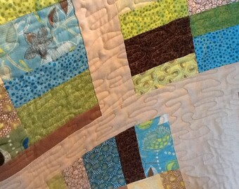 Aqua, Green and Biege Quilted Throw,  Modren Lap Quilt,  Baby Quilt, Quiltsy Handmade