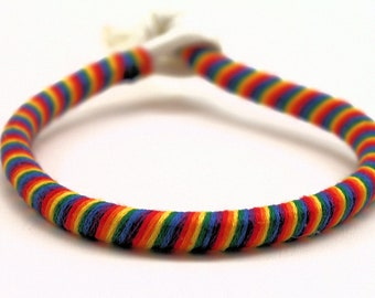 RAINBOW Red Orange Yellow Green Blue Purple Stackable Wrapped 550 Paracord Bracelet Anklet Floss Hemp Yarn Cotton Ribbon