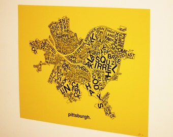 Pittsburgh Neighborhoods Print : Black ink on yellow paper