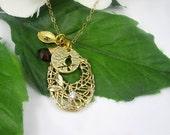 SALE, Bird Nest Necklace, Bird Necklace, Birthstone Necklace, Mothers Necklace, Personalized Womens, Custom Necklace, Dainty Gold Necklace,