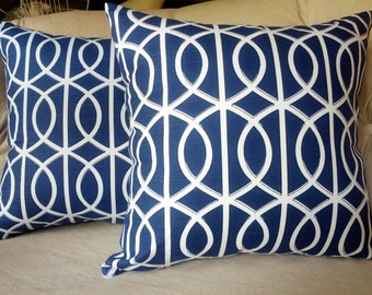 Set of 2 Pillow Covers, Cushion covers, Porte Bella in navy 20x20