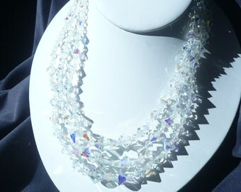 Vintage Aurora Borealis Crystal Glass Multi Strand Necklace Choker, Ornate Clasp
