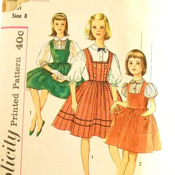 Vintage 1950s Girls Blouse Jumper Pattern Simplicity 3608 Size 8 Chest 26