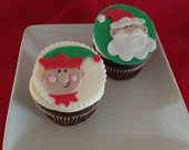 Santa and Elf Christmas Fondant Cupcake Cookie Toppers