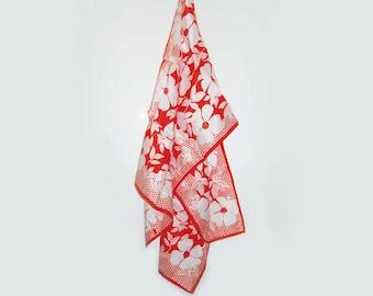 Vintage Red Floral Vera Scarf