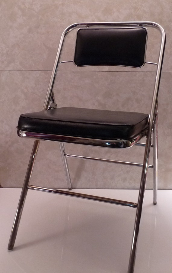 Vintage Mid Century Samsonite Chrome & Black Padded Folding