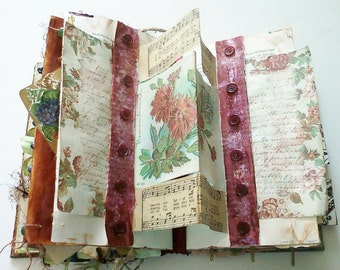 Handmade Altered Book Journal The Beauty of Flowers Theme - Mixed Media Book - Woodland Journal - Flower Album