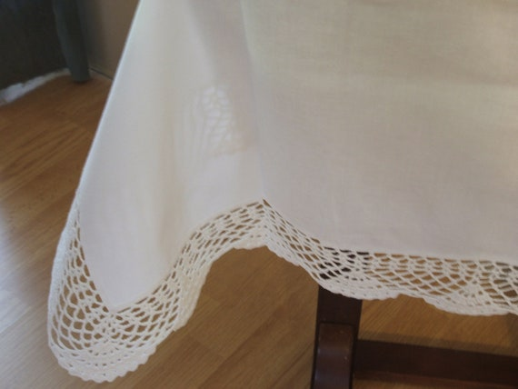 shabby chic white table cloth