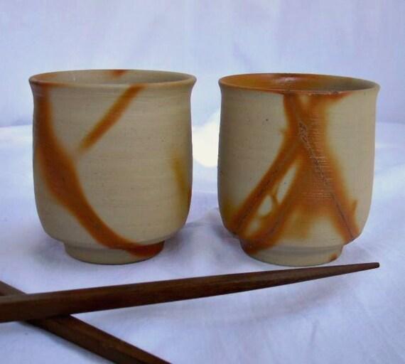 Japanese Bizen Hidasuki Yunomi Tea Cups