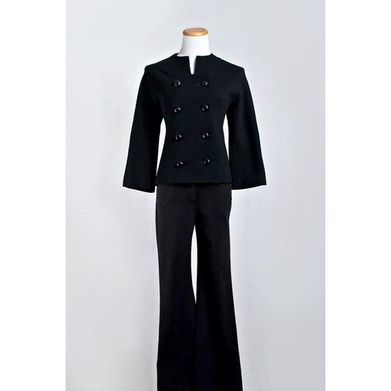 Vintage Black Wool Jacket / 1960s Kimberly Double Breasted Dress Coat / SALE