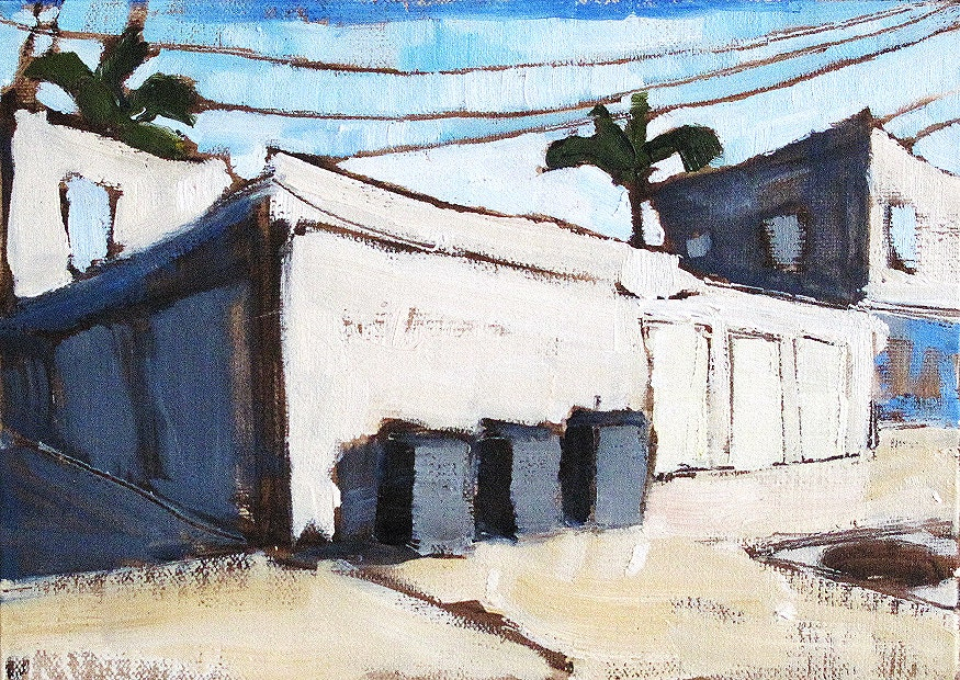 Trash Cans in the Alley, San Diego Painting