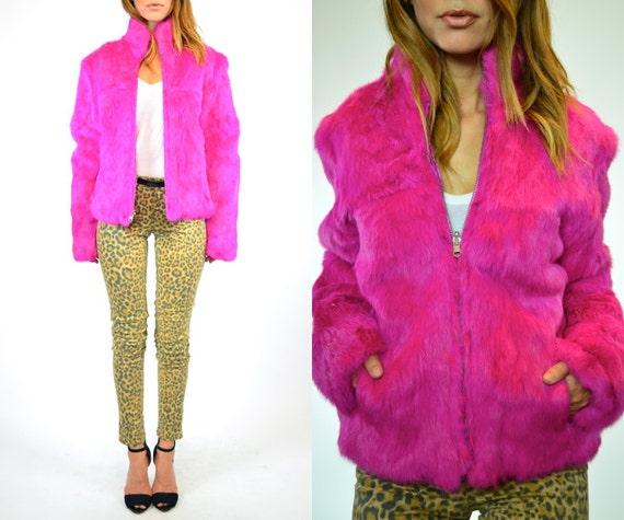 one-of-a-kind RARE avant garde genuine RABBIT fur boho rocker COAT, extra small-large