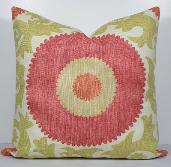 Etsy Decorative Throw Pillow : Items similar to SUZANI Fahri Hibiscus decorative pillow cover Designer soft green coral ...