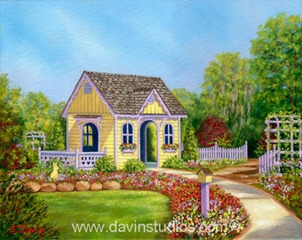 Children's Playhouse surrounded by a garden of flowers at NC Arboretum in Wilmington, NC, Oil Painting
