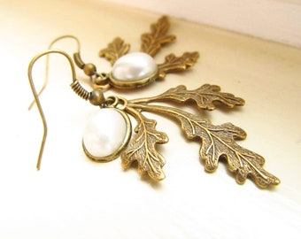 Brass Leaf Earrings, off white pearls, hook earrings, beautiful dangled leaf brass earnings.Great Gift. FREE SHIPPING