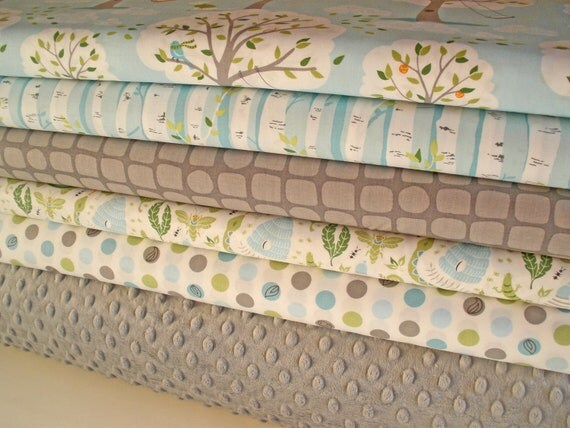 Backyard Baby and Minky Fabric Bundle, Complete Kit to Make a Patchwork Minky Baby Blanket, PDF Pattern Included