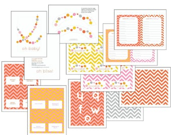 "Party Printables (Editable Text): ""hooray"" Chevron Polka Dot set in pink, yellow, grey, coral (INSTANT DOWNLOAD)"