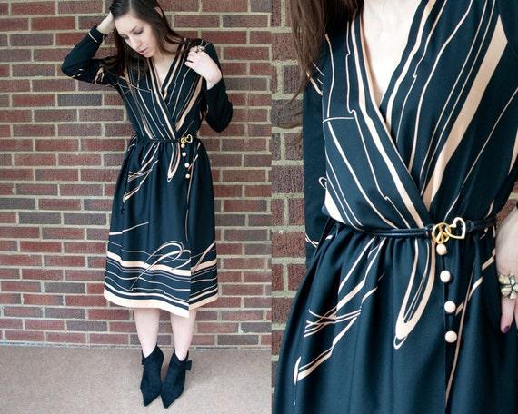 70s Vintage Wrap Black & Beige Print Dress (M)