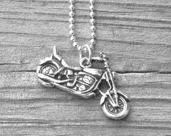 Motorcycle Necklace, Motorcycle Jewelry, Charm Necklace, Motorcycle Pendant, Sterling Silver Jewelry