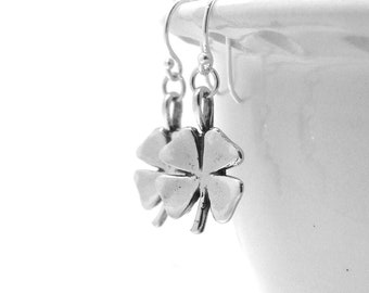 Sterling Silver Four Leaf Clover Earrings, Shamrock Earrings, Four Leaf Clover Jewelry, Shamrock Jewelry, Sterling Silver Jewelry, Clovers