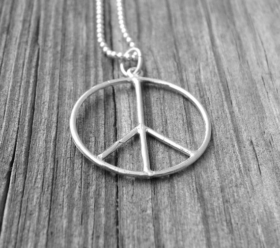 Sterling Silver Peace Necklace, Peace Sign Necklace, Large Peace Necklace, Peace Sign Jewelry, Peace Jewelry, Sterling Silver Jewelry