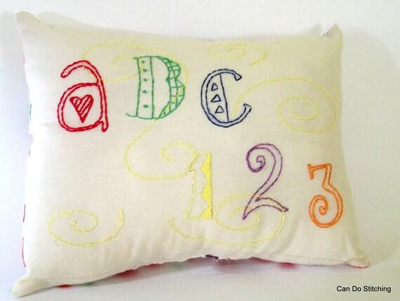 SALE Teacher Pillow Primitive Stitchery ABC 123