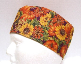 Scrub Hat, Surgical Cap or Chemo Cap with Autumn Pumpkins and Sunflowers