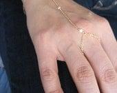 Gold chain slave bracelet - 3 tiny cz's bracelet with chain ring finger Kardashian inspired G2128