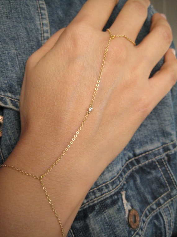 Gold Ring Bracelet Chain Gold Chain Slave Bracelet With