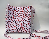 Women's Purse - Quilted Hip 2 Be Square Crossbody Purse in Red & Black Polka Dots on White - Women's Crossbody Pocketbook