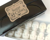 SUGAR SKULL CUBES Bulk Sugar Cubes 1 Box - 36 Sugar Cube Skulls Gothic Valentine Gift