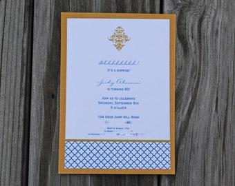 Quatrefoil and Flourish- Wedding Invitation