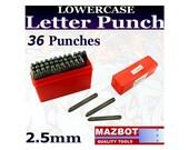 Mazbot 2.5mm LOWERCASE Letter & Number Punch Set - LP250L