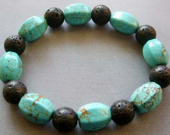 Valcano Stone And Imitate Turquoise Beads Bracelet  T1798