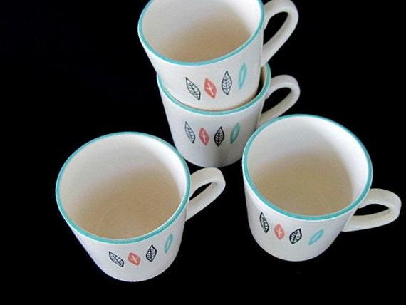 Nordic Mint Mid Century Coffee Mugs Cream Aqua Salmon Black