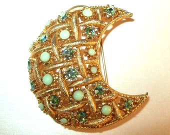 Be Celestial... Vintage Large Moon Brooch with Green Blue AB Rhinestones