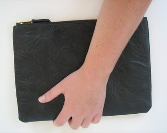 Black Floral Printed Leather iPad case/Clutch