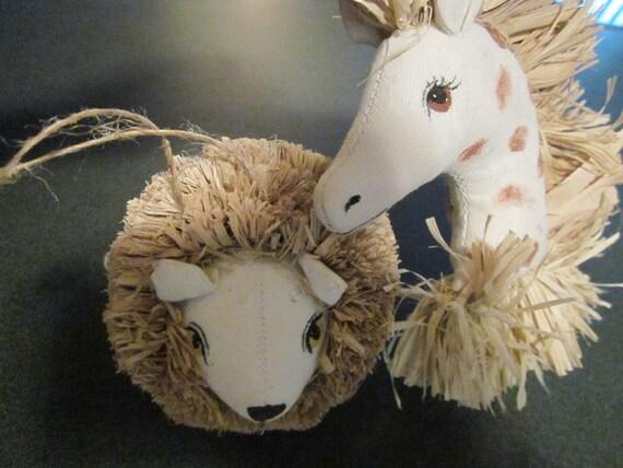 Dansk International Designs Stuffed Lion and Giraffe Head Ornaments