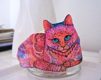 Sunset Cat animal sticker, 100% waterproof vinyl label *New on TevaKiwi*