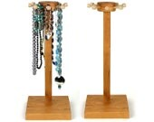 """Necklace Holder Stand, Jewelry Display, Cherry, Spinning, Wood, Ring, Bracelet Holder. 13"""" Necklace Height. Craft Show - Retail Display"""