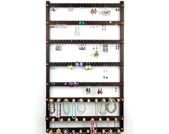 Extra-Large, Wooden, Peruvian Walnut Jewelry Display.  Holds 120 Pairs Plus 29 Pegs.  Wall Mount Earring Holder - Jewelry Holder.