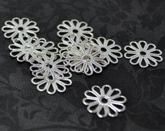 10pcs Sterling Silver Plated Brass 16mm Super High Quality Lovely Daisy Silouhette Filigree Base Connectors Wq S36