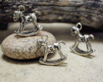 4pcs of Antiqued Silver 3D Rocking Horse Charms Pendants Q19-Rd